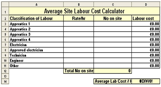 Average Site Labour Cost Calculator Sheet