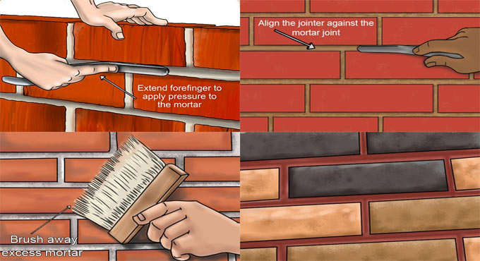 Most common types of brick mortar joints in masonry construction