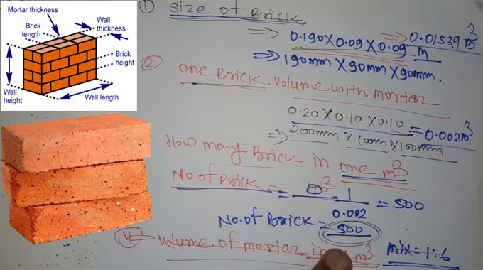 How to find out the quantities of bricks in one cubic meter