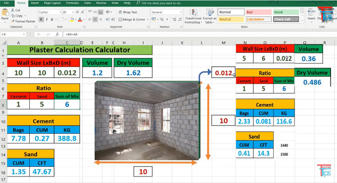 How to create plaster calculation calculator in excel
