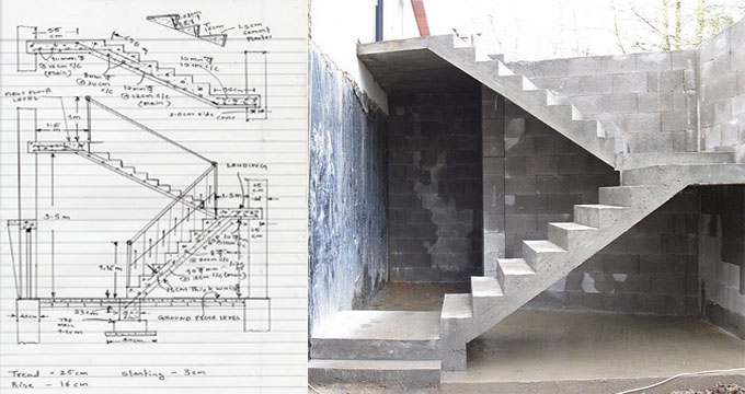 How to compute concrete quantity in a staircase