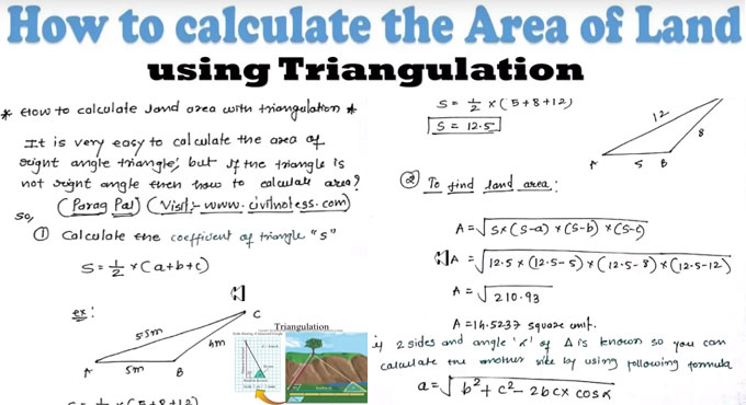 How to apply triangulation method to measure the area of land