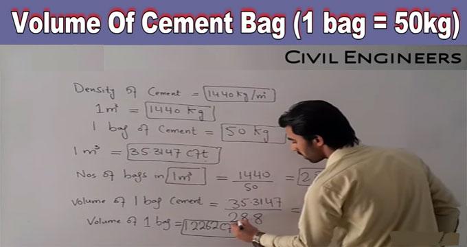 volume of cement bag in cubic meters