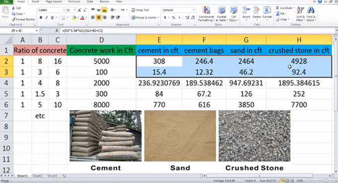 How to create your own excel sheet for cement, sand and aggregates