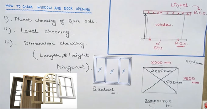 Some useful tips for checking the openings of windows & doors in construction site