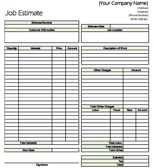 construction estimate forms pdf – Job Estimate Sheet