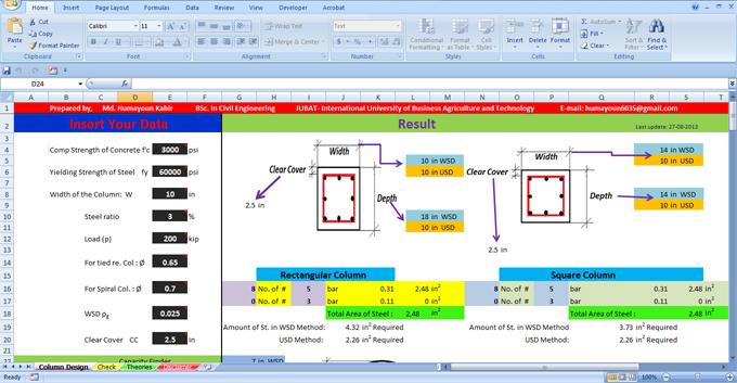 Reinforcement Column   Design a Column in Excel