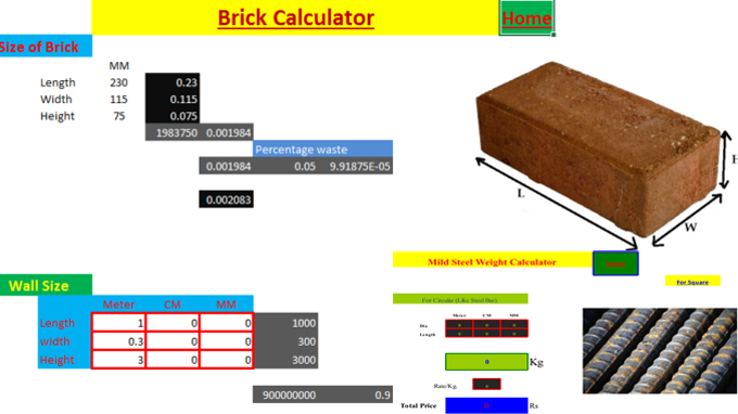 Demonstration of Concrete, Steel, Brick Calculator
