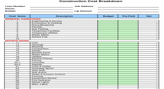 Construction cost breakdown sheet cost estimating Material list for building a house spreadsheet