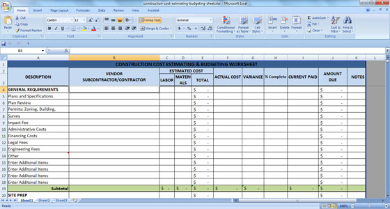 construction cost estimating budgeting sheet
