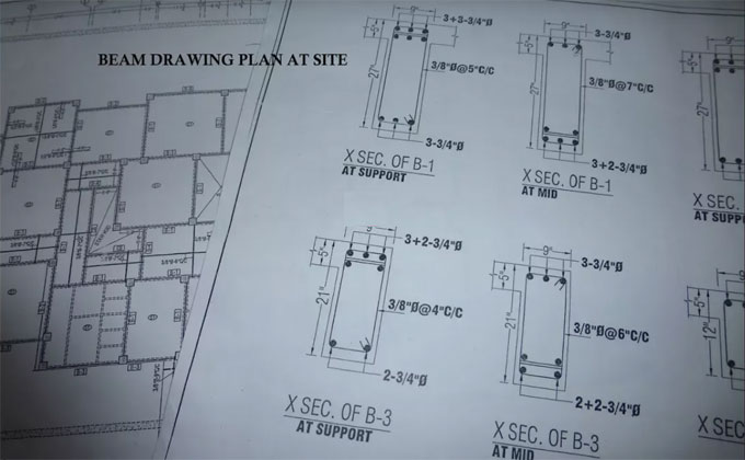 How to read construction drawing plans for beams in construction site