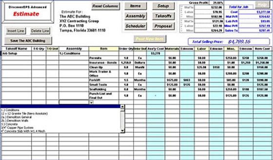 Construction estimating sheet construction takeoff software for Software development cost estimation template