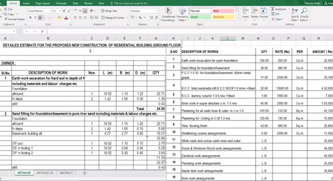 Download spreadsheet to estimate the new construction of residential building