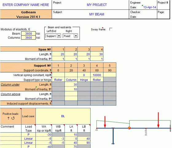 Continuous Beam Analysis for Excel