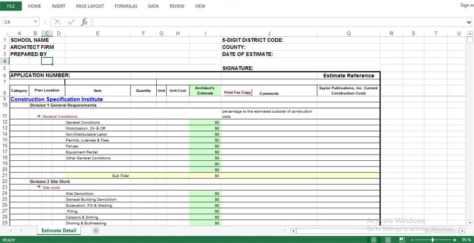 Free download construction cost estimating sheet to get rid of human errors