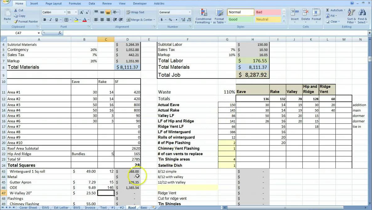 Cost Estimating Sheet with Excel for the General Contractor