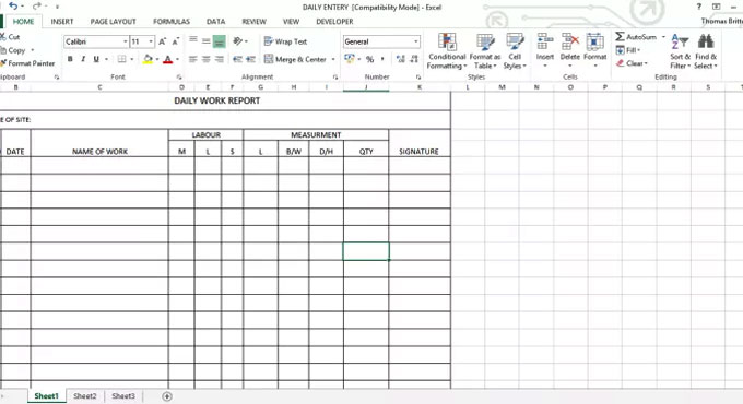 Daily Work Report Excel Sheet  Daily Work Report Template