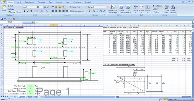 How to use excel sheet to design a Raft Foundation