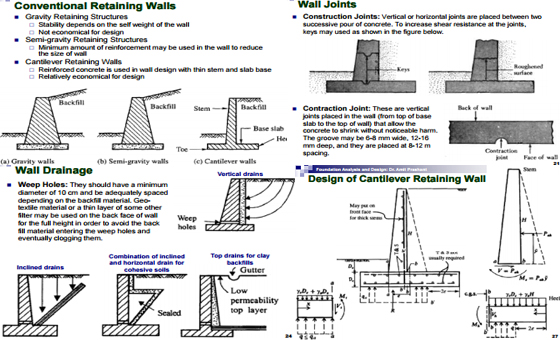 Design and analysis of Retaining Wall