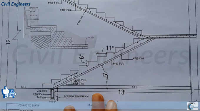 How to read drawing for RCC Staircase