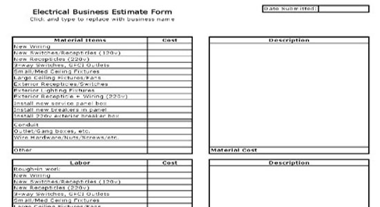 electrical estimate sheet free electrical estimate – Job Estimate Sheet
