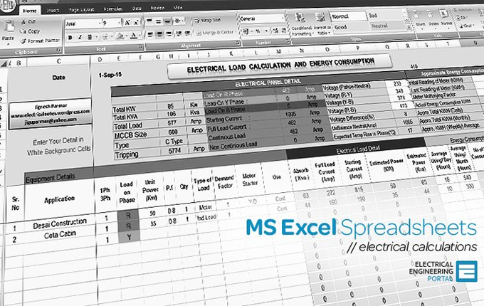 Electrical MS Excel Spreadsheets | Download Electrical Sheet