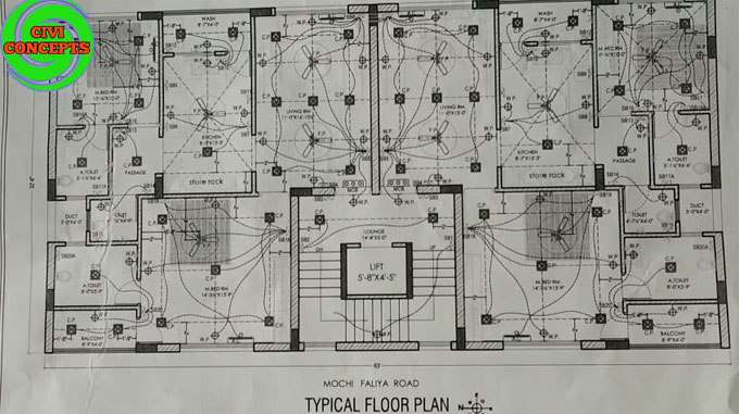 Details of electrical plan schedule in construction