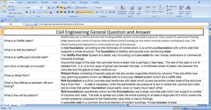 Download the huge lists of questions & answers for Civil Engineering exam