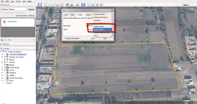 How to determine land area online through google earth