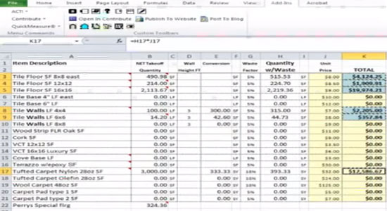 Free estimating software takeoff template concrete spreadsheet for Concrete estimate template