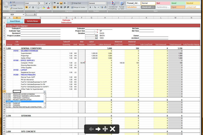 General construction estimate spreadsheet for Plumbing material spreadsheet
