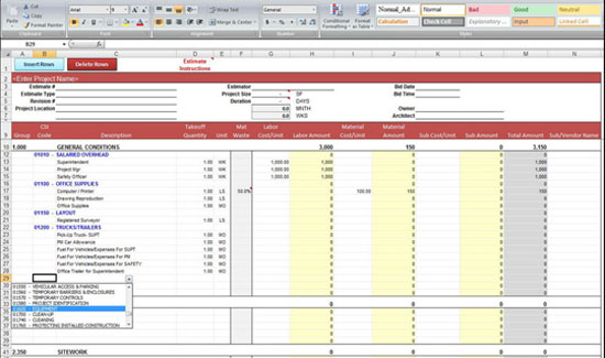 construction estimate excel template