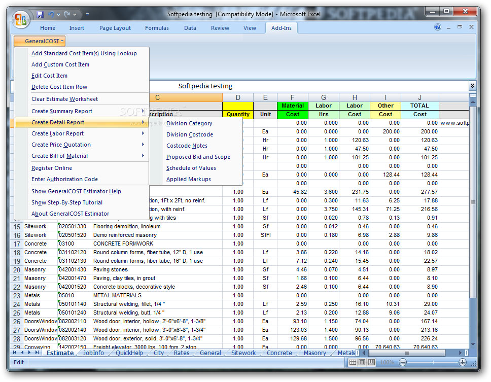 Construction cost estimator general cost estimator for Online construction cost estimator