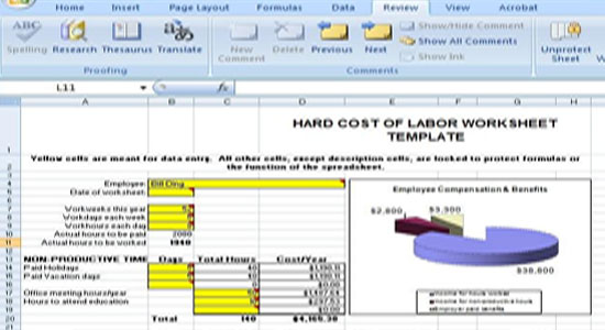 Hard Cost Estimating of Labor Worksheet