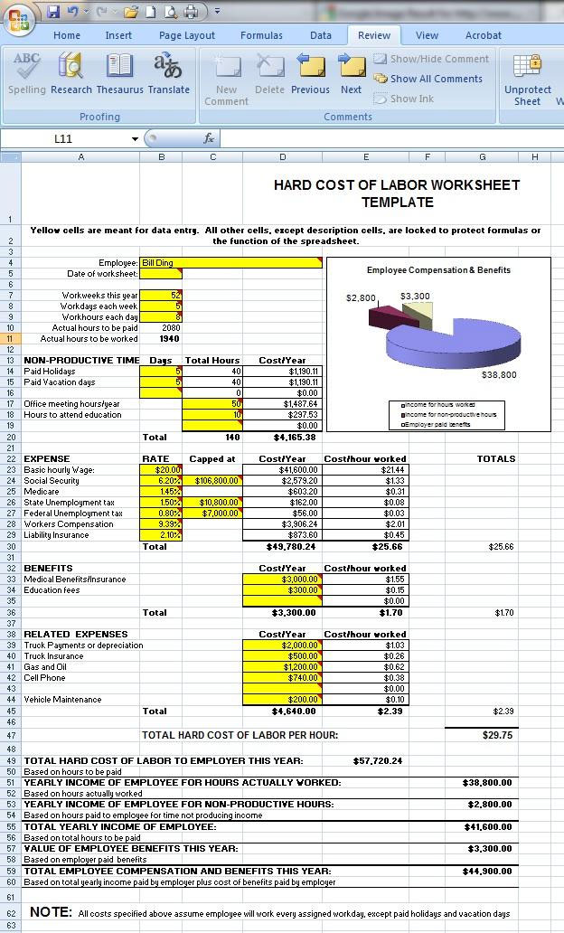 employee cost calculator spreadsheet juve cenitdelacabrera co
