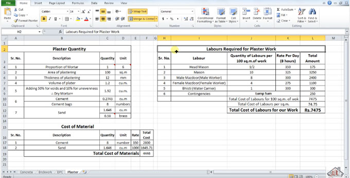Learn how to calculate the number of labor, necessary for plaster work in excel