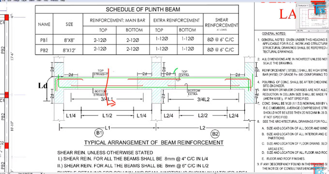 Some useful tips to study the drawing of plinth beam in construction site