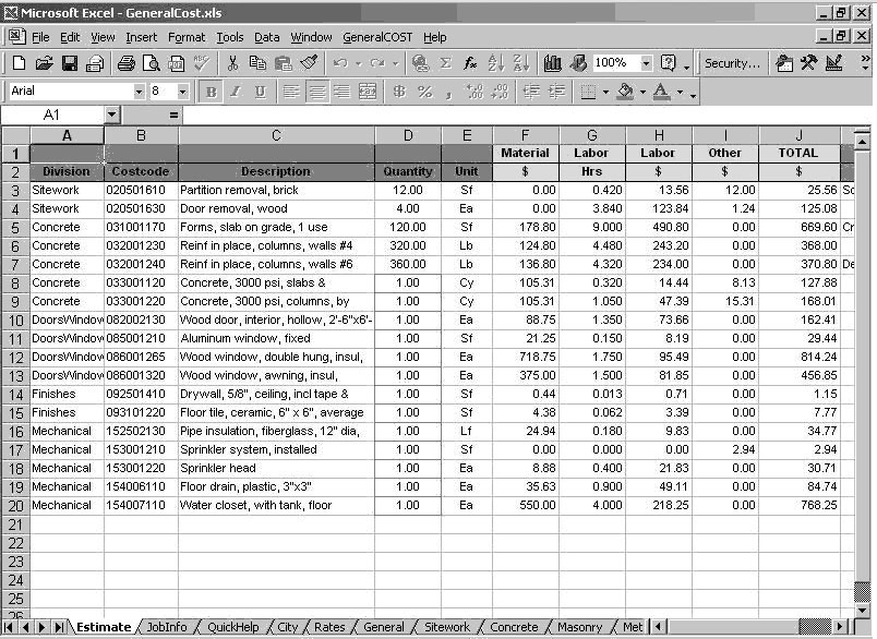 Plumbing cost estimate worksheet for Plumbing material spreadsheet
