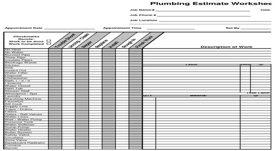 Estimating Plumbing Construction Worksheet