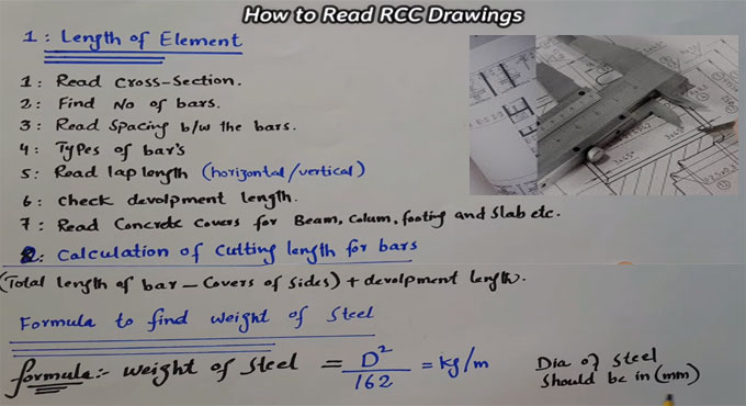 Some useful tips to study RCC drawings