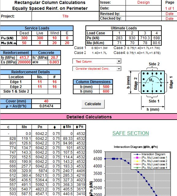 Rectangular column calculations excel sheet