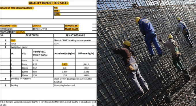 Details of reinforcement checklists in construction site