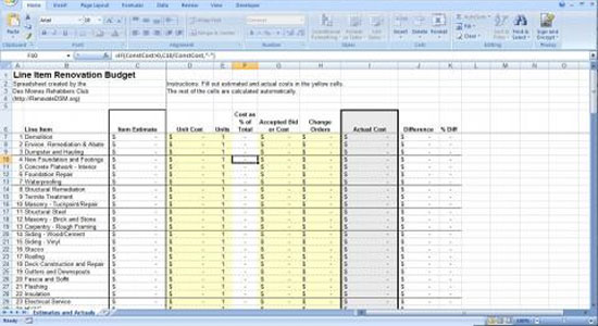 Microsoft excel home renovation budget template for Home construction budget template
