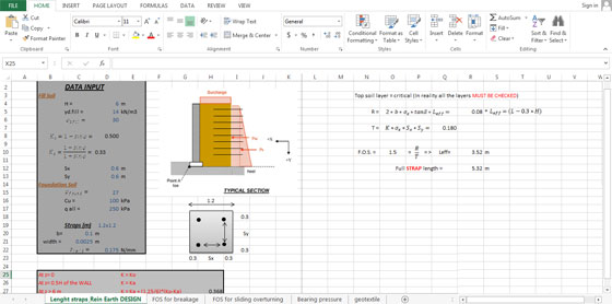Civil Engineering Retaining Wall Design Spreadsheet