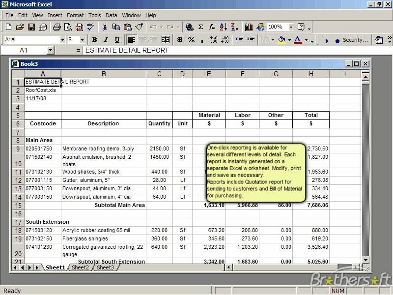 roof cost estimator for excel 2 0