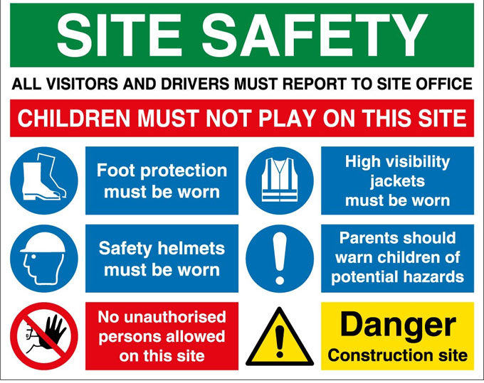 Use of effective safety signs in Construction
