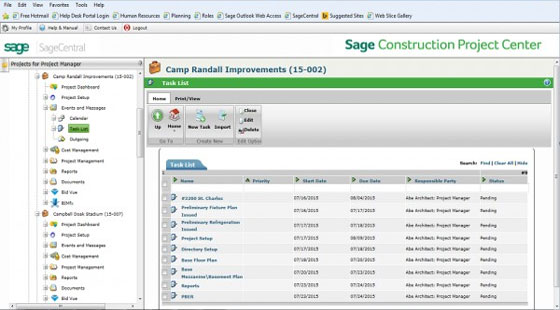 Sage Construction Project Center and Sage Bid Management