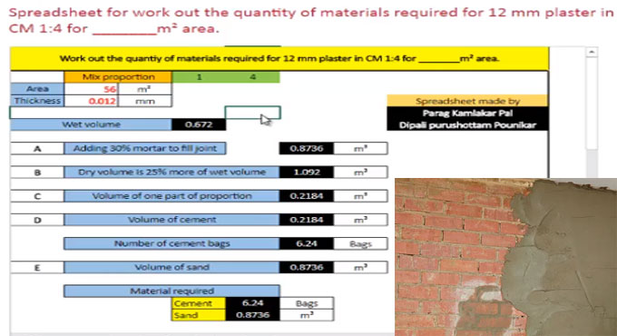 How to accomplish 12 mm plaster work estimation through spreadsheet