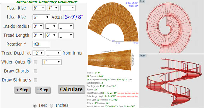 Demo of Spiral Stair Geometry Calculator