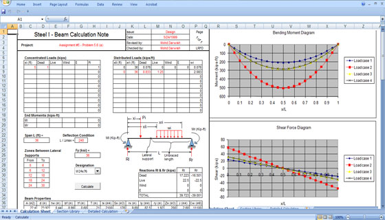 Steel Beam Design Excel Spreadsheet
